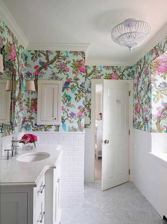 floral paper in white bathroom
