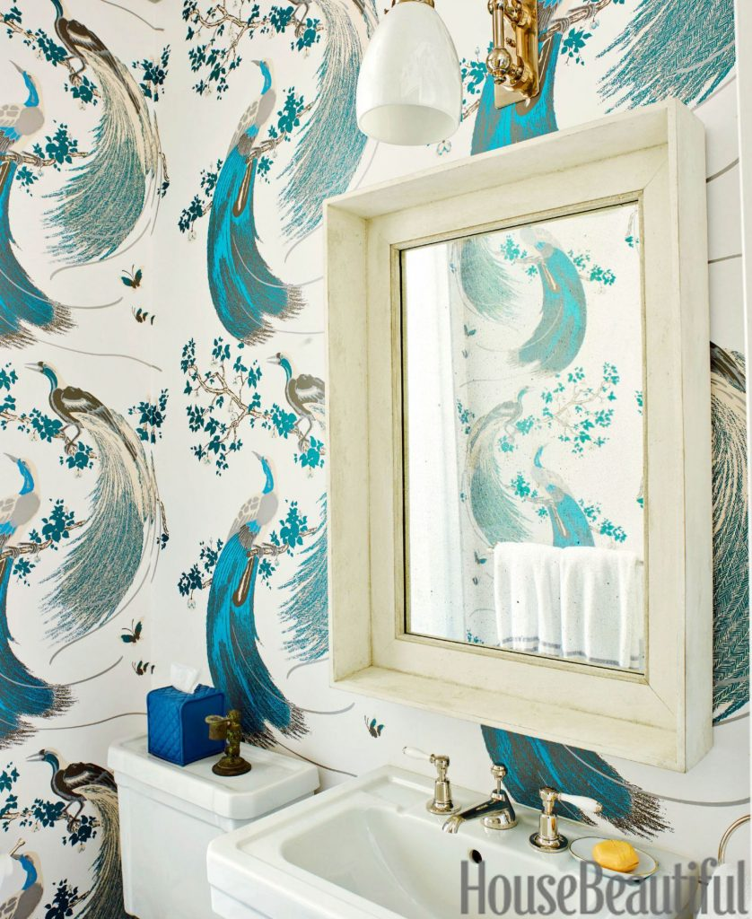 Peacock wallpaper pattern in bathroom
