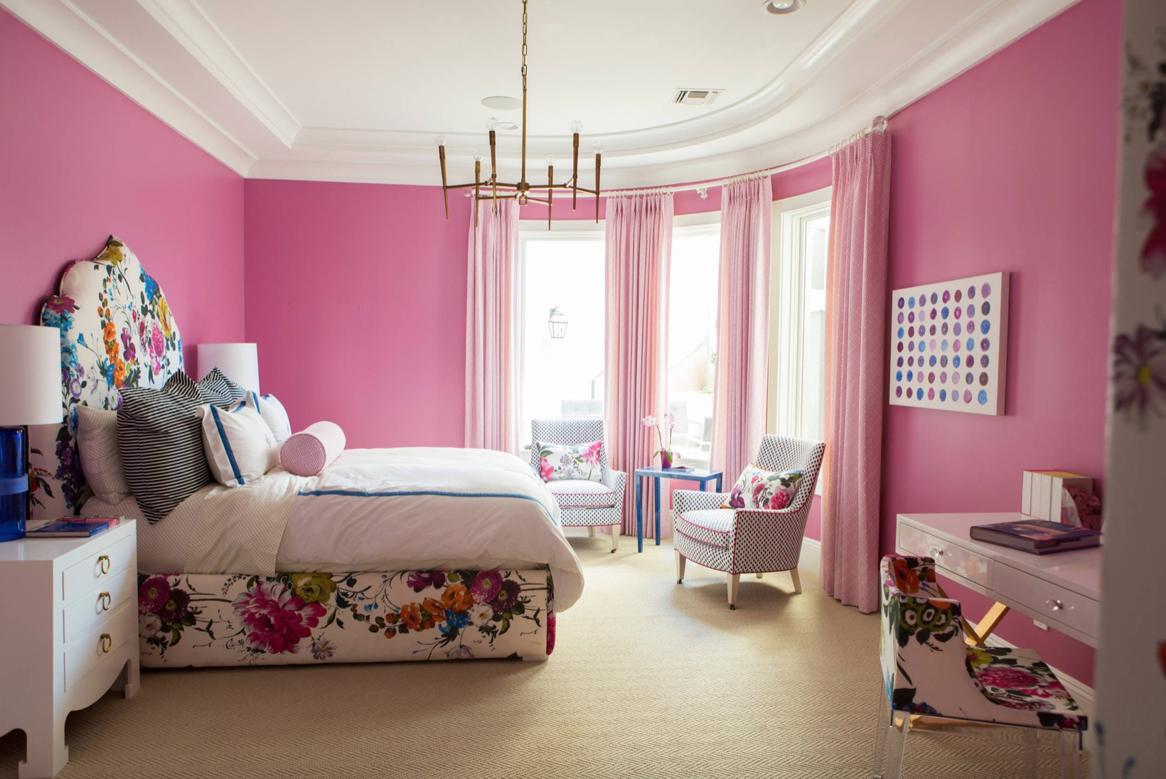 hot pink bedroom with flowers