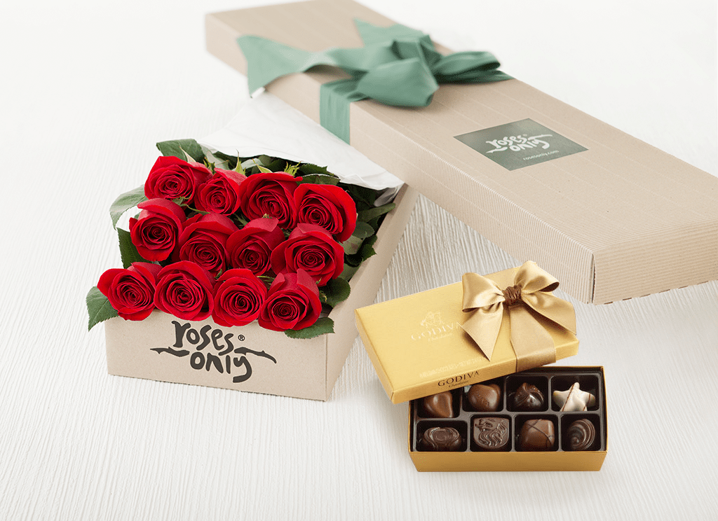 roses and box of chocolate