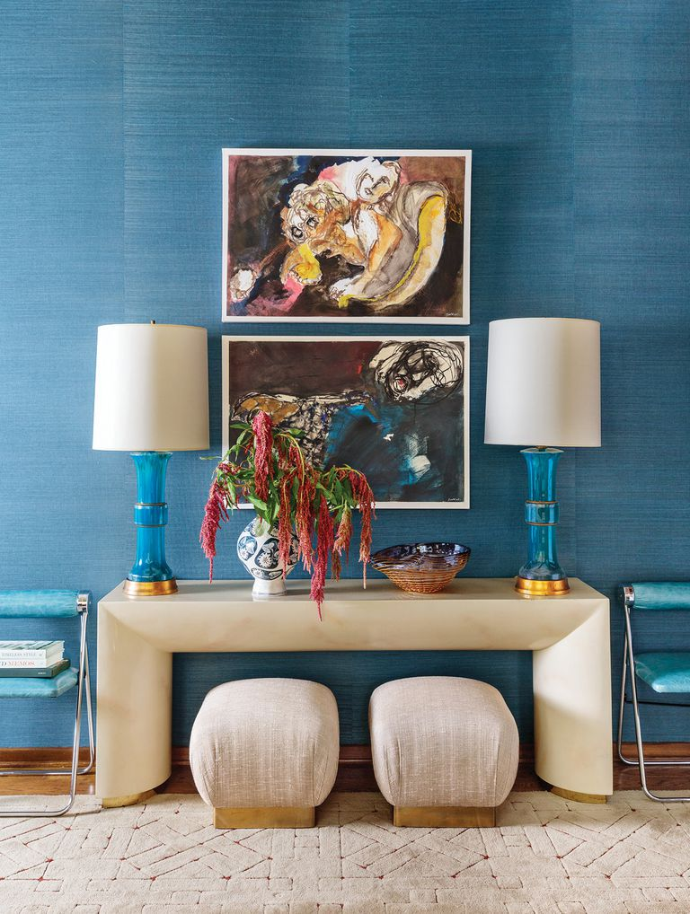 topaz blue grasscloth wall