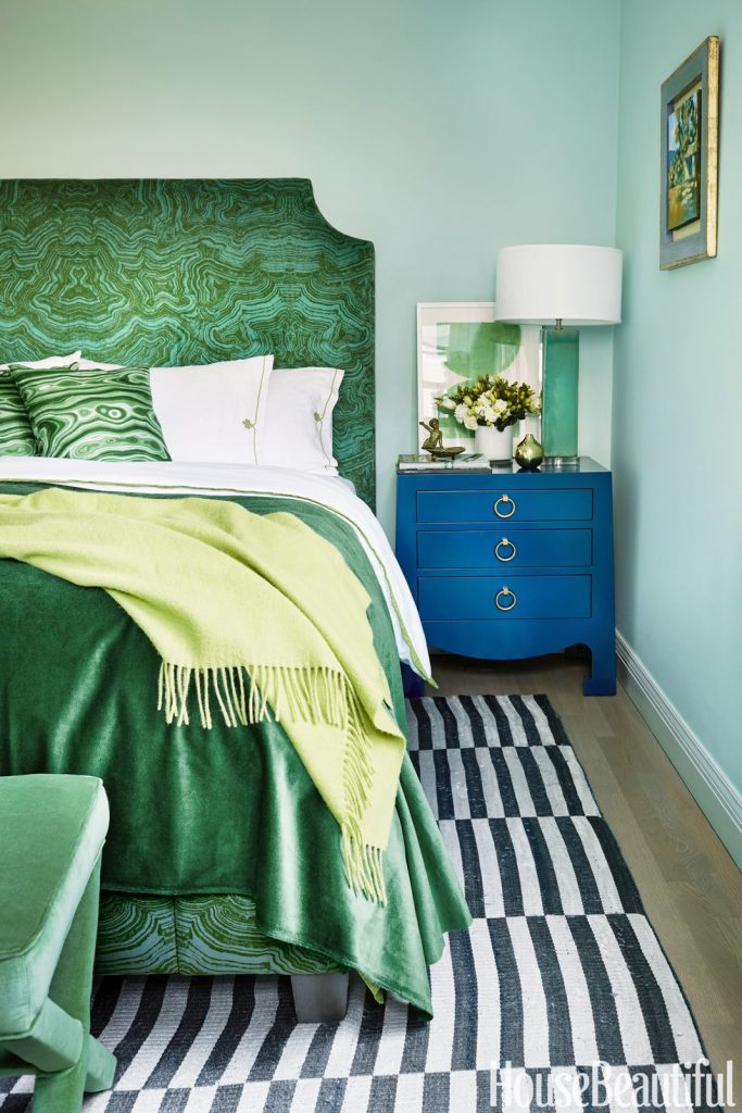 Malachite upholstered bed